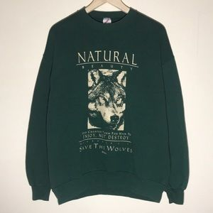 Vintage 1990s Save the Wolves Sweatshirt